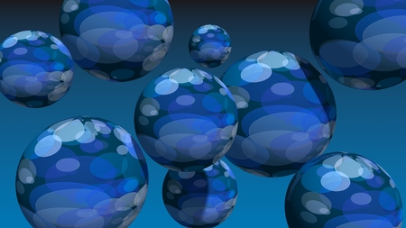 levitation: Large group of spotted orbs or spheres levitation in empty space. 3D rendering