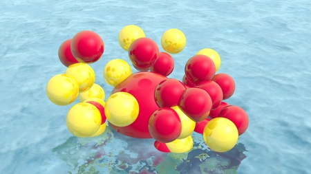 levitation: Large group of orbs or spheres levitation above water surface. 3D rendering