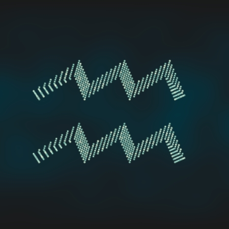 bearer: Water bearer astrology sign. Neon shine disco particles astrological symbol. 3D rendering