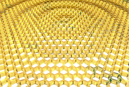 intricacy: Perspective view on honeycomb . 3D rendering backdrop