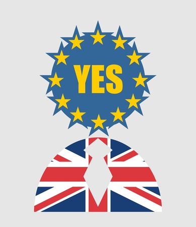 politic: United Kingdom exit from europe relative image. Brexit named politic process. Referendum theme. Human icon textured by Britain and Europe flags. Yes word