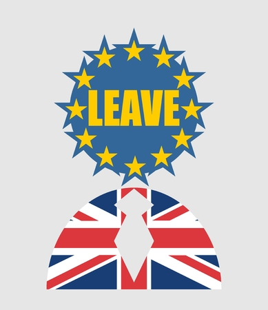 politic: United Kingdom exit from europe relative image. Brexit named politic process. Referendum theme. Human icon textured by Britain and Europe flags. Leave word