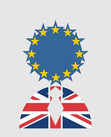 politic: United Kingdom exit from europe relative image. Brexit named politic process. Referendum theme. Human icon textured by Britain and Europe flags