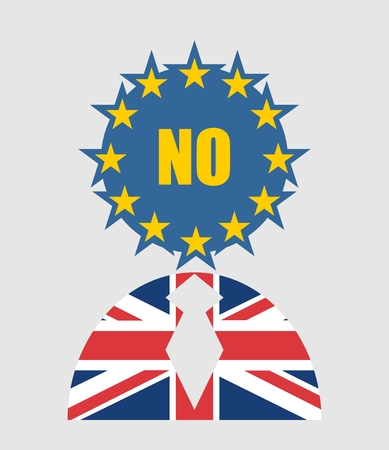 no image: United Kingdom exit from europe relative image. Brexit named politic process. Referendum theme. Human icon textured by Britain and Europe flags. No word
