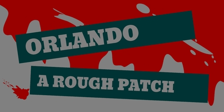 disappointment: Orlando a rough patch text on dark stripe. Vector illustration