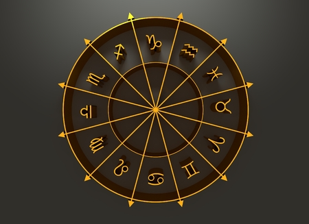 augury: Golden astrological symbols in the circle. 3D rendering Stock Photo