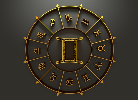 astrologer: twins astrology sign. Yellow astrological symbol in the circle of others sings. 3D rendering