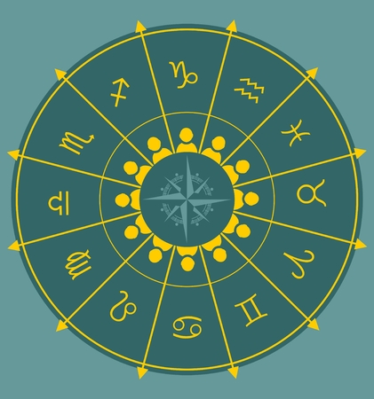 augury: Astrological symbolsand man icons in the circle. Vector illustration Illustration