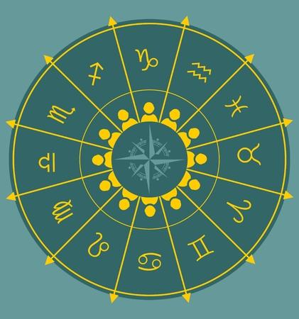 astrologer: Astrological symbolsand man icons in the circle. Vector illustration Illustration