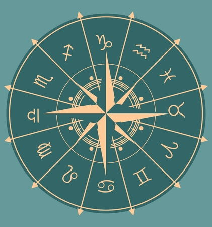 augury: Astrological symbols in the circle. Vector illustration