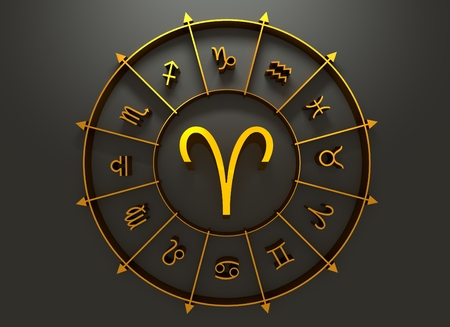augury: Ram astrology sign. Golden astrological symbol in the circle of others sings. 3D rendering Stock Photo