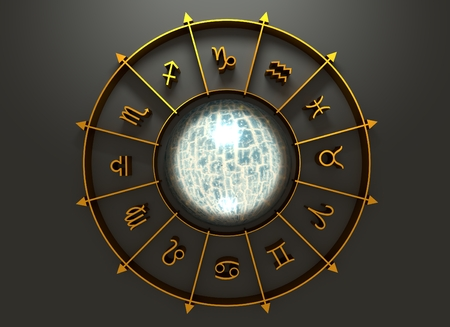 astrologer: Golden astrological symbol in the circle. Cracked surface sphere in the center of the ring. 3D rendering
