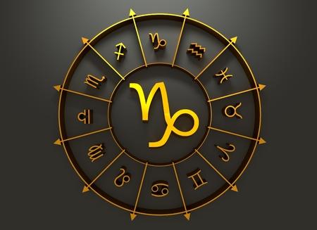 augury: Goat astrology sign. Golden astrological symbol. 3D rendering