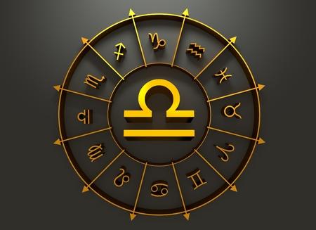 astrologer: Scales astrology sign. Golden astrological symbol. 3D rendering
