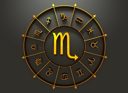 augury: Scorpion astrology sign. Golden astrological symbol. 3D rendering Stock Photo