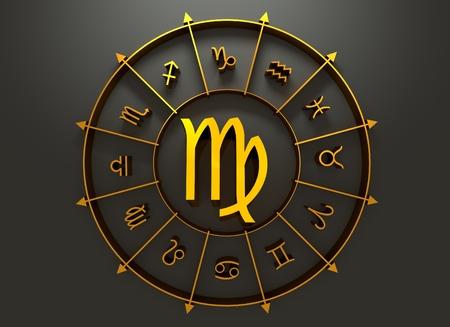 augury: Maiden astrology sign. Golden astrological symbol. 3D rendering
