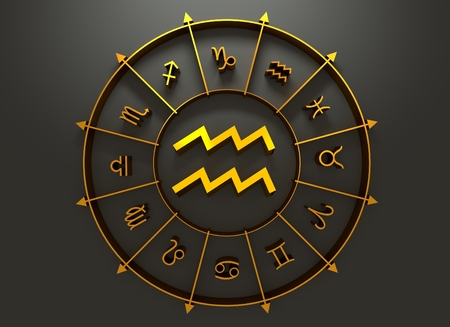 Water bearer astrology sign. Golden astrological symbol in the circle of others sings. 3D rendering Stock Photo