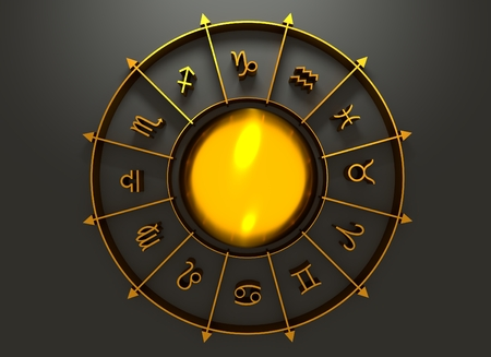 augury: Golden astrological symbol in the circle. Mirror surface sphere in the center of the ring. 3D rendering