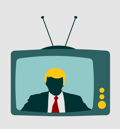 television set: Television set broadcasting the news with an reporter. Vector flat design illustration.