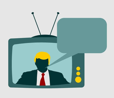 television set: Television set broadcasting the news with an reporter and bubble speech. Vector flat design illustration.