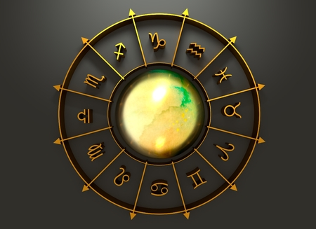 astrologer: Golden astrological symbol in the circle. Mirror surface sphere in the center of the ring. 3D rendering