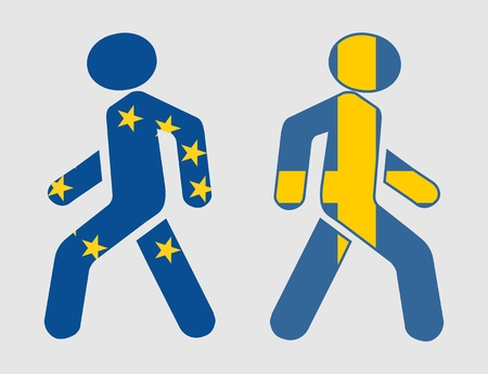 referendum: Sweden exit from europe relative image. Frexit named politic process. Referendum theme. Pedestrians textured by national flags Illustration
