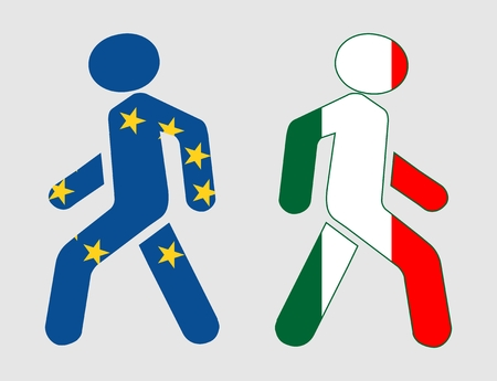 named: Italy exit from europe relative image. Frexit named politic process. Referendum theme. Pedestrians textured by national flags Illustration