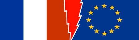 voltage sign: Image relative to politic relationships between European Union and France. National flags divided by high voltage sign