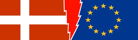 voltage sign: Image relative to politic relationships between European Union and Denmark. National flags divided by high voltage sign Illustration