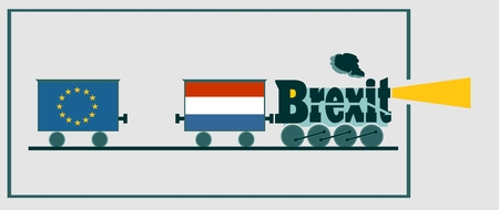 named: Netherlands leave the European Union relative image. Swexit named politic process metaphor. Steam train as brexit word Illustration