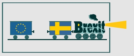 named: Sweden leave the European Union relative image. Swexit named politic process metaphor. Steam train as brexit word