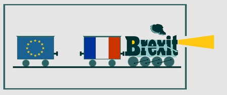 politic: France leave the European Union relative image. Frexit named politic process. Steam train as brexit word
