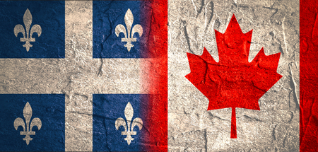 politic: Image relative to politic relationships between Canada and Quebec. National flags textured by concrete