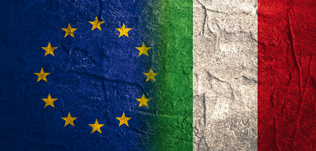 politic: Image relative to politic relationships between European Union and Italy. National flags textured by concrete