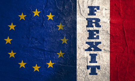 area of conflict: Image relative to politic relationships between European Union and France. National flags textured by concrete. Frexit text Stock Photo