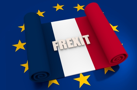 area of conflict: France and European Union relationships relative image. Frexit named politic process. Scroll textured by national flag. 3D rendering