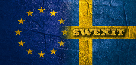 area of conflict: Image relative to politic relationships between European Union and Sweden. National flags textured by concrete. Swexit text