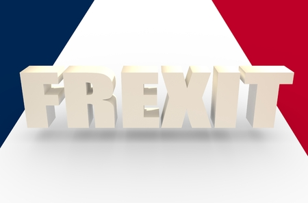 politic: France and European Union relationships relative image. Nexit named politic process. 3D rendering