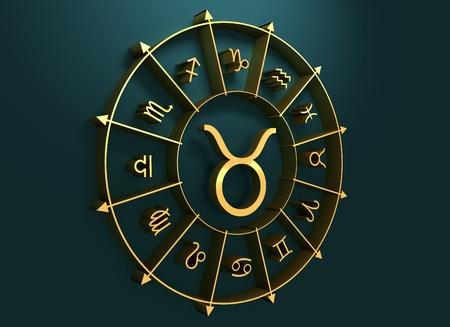augury: Bull astrology sign. Golden astrological symbol. 3D rendering