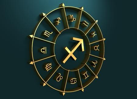 augury: Archer astrology sign. Golden astrological symbol. 3D rendering
