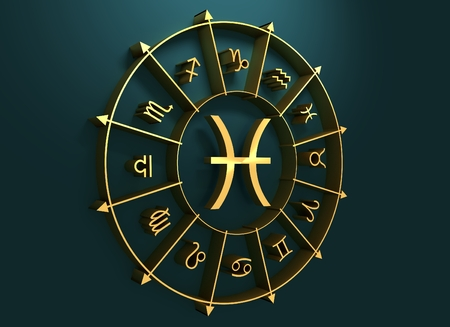 astrologer: Fish astrology sign. Golden astrological symbol. 3D rendering