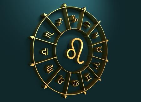 astrologer: lion astrology sign. Golden astrological symbol. 3D rendering