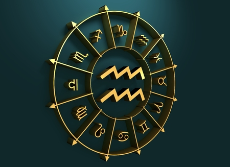 bearer: Water bearer astrology sign. Golden astrological symbol in the circle of others sings. 3D rendering Stock Photo