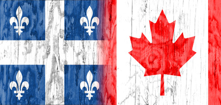 politic: Image relative to politic relationships between Canada and Quebec. National flags textured by wood.