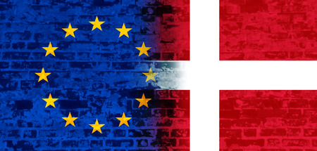 area of conflict: Image relative to politic relationships between European Union and Denmark. National flags textured by brick wall Stock Photo