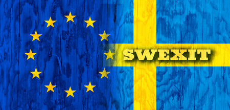 area of conflict: Image relative to politic relationships between European Union and Sweden. National flags textured by wood. Swexit text