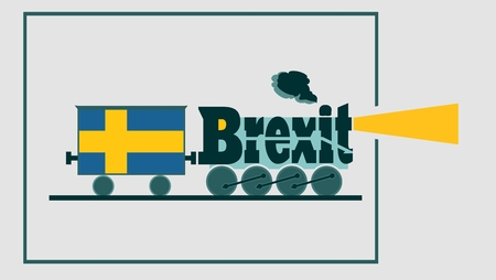 politic: Sweden leave the European Union relative image. Swexit named politic process metaphor. Steam train as brexit word