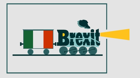 british ethnicity: Italy leave the European Union relative image. Politic process metaphor . Steam train as brexit word Illustration