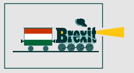 named: Hungary leave the European Union relative image. Swexit named politic process metaphor. Steam train as brexit word