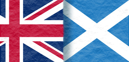 politic: Image relative to politic relationships between Great Britain and Scotland. National flags textured by crumpled paper